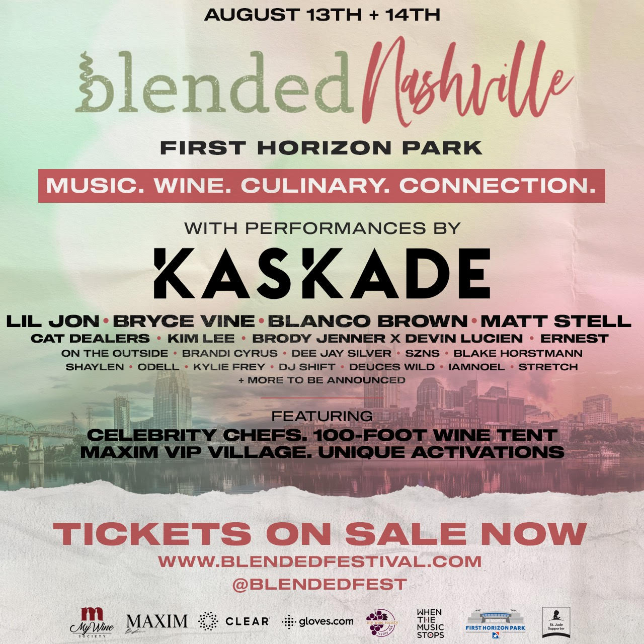 Blended Festival Lineup featuring Kaskade, Lil Jon, Matt Stell, Bryce Vine, Blanco Brown, and more.